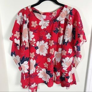 Zara Basic Red Floral Top